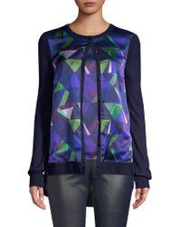 St. John - Geometric Jersey Knit Cardigan - Lyst