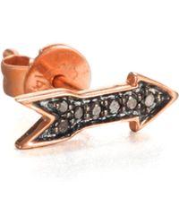 Sydney Evan - Black Diamond & 14K Rose Gold Arrow Single Stud Earring - Lyst
