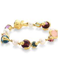 Marina B   8mm Pearl Multi Stone And 18k Yellow Gold Bracelet   Lyst
