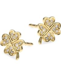 EF Collection - Diamond & 14k Yellow Gold Clover Single Stud Earring - Lyst