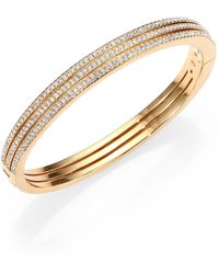 Adriana Orsini - Pave Crystal Three-row Bangle Bracelet/goldtone - Lyst
