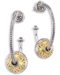 Konstantino - Gaia Etched Sterling Silver Hoop Earrings - Lyst