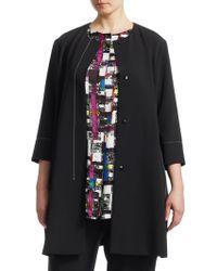 Marina Rinaldi - Collarless Three-quarter Sleeve Jacket - Lyst