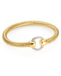 Roberto Coin - Primavera Diamond & 18k Yellow Gold Woven Bracelet - Lyst