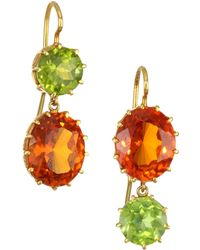 Renee Lewis Women's 18k Yellow Gold Peridot & Citrine Drop Earrings