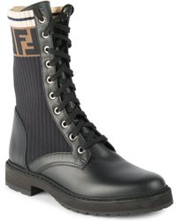Fendi - Rockoko Leather & Knit Combat Boots - Lyst
