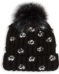 Jocelyn - Jewel & Fox Fur Ribbed Beanie - Lyst
