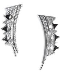 Nikos Koulis - Diamond And Onyx 18k Gold Climber Earrings - Lyst