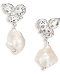 Anzie - Bouquet 12-15mm Baroque Freshwater Pearl & White Topaz Drop Earrings - Lyst