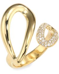 Ippolita - Cherish Diamond & 18k Yellow Gold Small Bypass Ring - Lyst