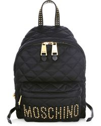 Moschino - Quilted Stud Logo Backpack - Lyst