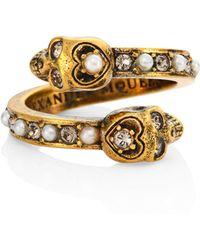 Alexander McQueen - Imitation Pearl & Crystal Ring - Lyst