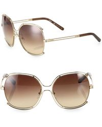 Chloé - 59mm Oversized Wire-trim Square Sunglasses - Lyst