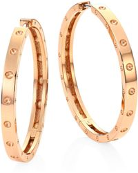 Roberto Coin - Symphony Pois Mois Large 18k Rose Gold Hoop Earrings/1.25 - Lyst