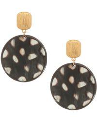 Nest - 24k Goldplated Spotted Horn Disc Earrings - Lyst