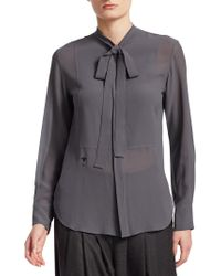 Dior - Silk Blouse With Tie - Lyst
