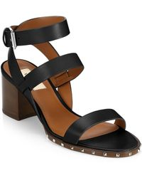 Valentino - Leather Ankle Wrap Sandals - Lyst