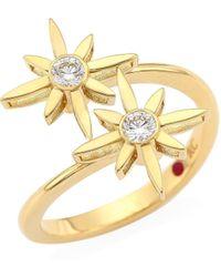 Roberto Coin - Princess Cinderella 18k Yellow Gold & Diamond Star Duo Ring - Lyst