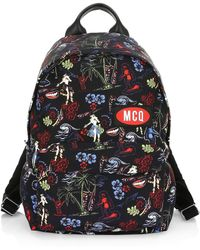 eaf7ec6b41e5 McQ - Men s Floral Logo Patch Backpack - Darkest Black - Lyst
