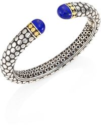 John Hardy - Batu Dot Lapis Lazuli, 18k Yellow Gold & Sterling Silver Medium Kick Cuff Bracelet - Lyst