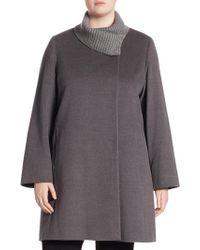Cinzia Rocca - Metallic Knit Collar Coat - Lyst