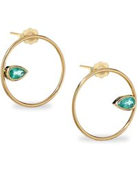 Zoe Chicco - Emerald & 14k Yellow Gold Circle Earrings - Lyst