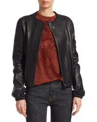 Elizabeth and James - Tinley Leather Bomber Jacket - Lyst