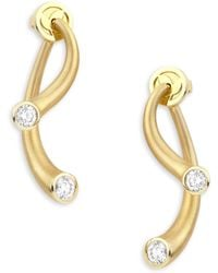 Carelle - Whirl Diamond & 18k Yellow Gold Stud Ear Jackets - Lyst