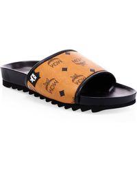 aaec88ef45b373 MCM - Men s Monogram Faux-leather Slides - Cognac - Size 44 (11)