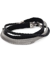 Title Of Work - Gridlocks Sterling Silver And Braided Leather Micromesh Bracelet - Lyst