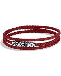 David Yurman - Chevron Triple-wrap Leather Bracelet - Lyst