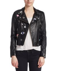 Lamarque - Donna Rock Patch Moto Jacket - Lyst