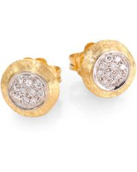 Marco Bicego - Delicati Diamond, 18k Yellow & White Gold Stud Earrings - Lyst