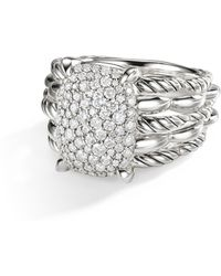 David Yurman - Tides Sterling Silver & Pavé Diamond Cable Ring - Lyst