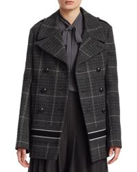 Dior - Check Wool Logo Peacoat - Lyst