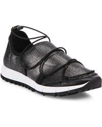 Jimmy Choo - Andrea Metallic Mesh Lace-up Sneakers - Lyst