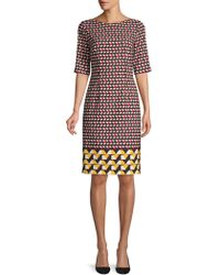 BOSS - Micro Stretch Graphic Sheath Dress - Lyst