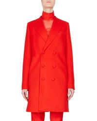 Givenchy - Double Breasted Wool Coat - Lyst
