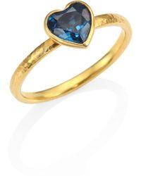 Gurhan - Amulet Hue Blue Topaz & 22-24k Yellow Gold Heart Ring - Lyst