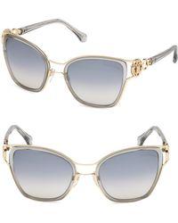 Roberto Cavalli - Gray Double Bridge Cat Eye Sunglasses/54mm - Lyst