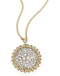 Plevé - Ice Flower Diamond & 18k Yellow Gold Pendant Necklace - Lyst