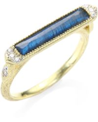 Jude Frances | Moroccan Marrakesh East West Diamond, Labradorite & Black Onyx Long Ring | Lyst