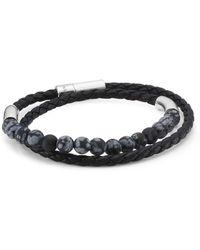 Tateossian - Snowflake, Silver And Leather Havana Bracelet - Lyst