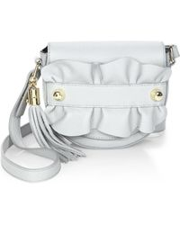 MILLY | Ruffle Leather Crossbody Saddle Bag | Lyst