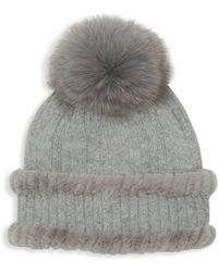Glamourpuss - Fox & Rabbit Fur-trim Knit Angora Hat - Lyst