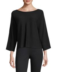 Eileen Fisher - Boatneck Slit-sleeve Wool Top - Lyst