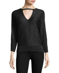 MILLY | Italian Shimmer Cutout Sweater | Lyst