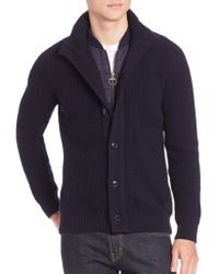 Barbour - Long Sleeve Cotton Cardigan - Lyst