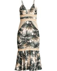 37f4205a PATBO - Palm Mesh And Jute-trimmed Printed Woven Midi Dress - Lyst