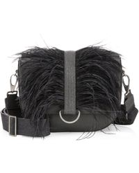Brunello Cucinelli - Ostrich Feather And Leather Shoulder Bag - Lyst